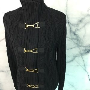 EUC Lauren Ralph Lauren Zip Up Sweater Gold